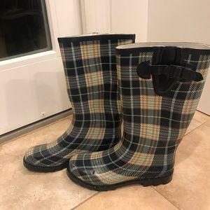 Rain Rubber Boots Size 9 Plaid Design